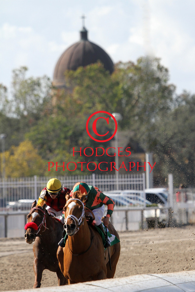 With the historic dome of St. Francis Cabrini Church in the background, Mark Guidry aboard Very Lucky outduels Laugh It Off and jockey Rosie Napravnik to win the first race at Fair Grounds Race Course on December 2, 2012.