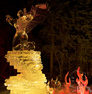 This was not a good year for the ICE show but a better year then last year! The unusual warm weather we had over the winter melted a lot of the ice.  It was 37 when I took these. That's hot for Fairbanks in the winter. So some of the sculptures were broken and melted.  This means loss of detail in some of the ice. A few of the multi block ice sculptures had already fallen. It was still a good show. If you are in Alaska in February and March you should go to Fairbanks to see this.