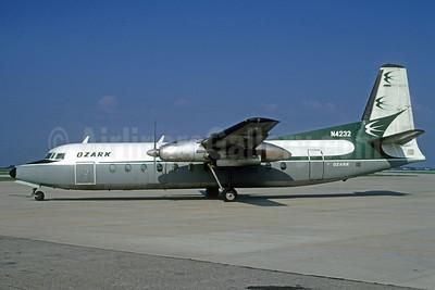 Ozark Airlines (1st) Fairchild Hiller FH-227B N4232 (msn 555) SPI (Bruce Drum). Image: 102433.