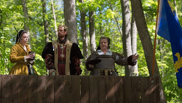 The King, his mother, and his mistress prepare to open the Faire.