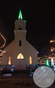 Crossroads Village in Flint, MI Christmas light display.  Church decorated for Christmas.