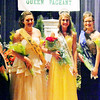 Will Fehlinger | The Herald-Tribune<br /> Franklin County Fair Queen Court members stand between reigning Indiana State Fair Queen Becca Lax (left) and 2016 Franklin County Queen Madison Payne (right). Miss Congeniality Alexa Brehm (from second from left), third runner-up Clare Weidner, Queen Ashlie Raible, first runner-up Shelby Kolb and second runner-up Tori Volk make up the court.