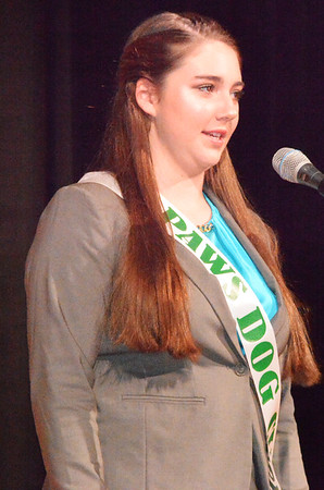 Will Fehlinger | The Herald-Tribune<br /> Clare Weidner presents her opening speech at the pageant.