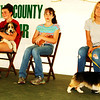 Debbie Blank | The Herald-Tribune<br /> Audrey French (from left) with Waylon, Abigail Warren with guinea pig Diamond and Hannah Mullins with Lincoln compete in Wednesday night's pet show intermediate division.