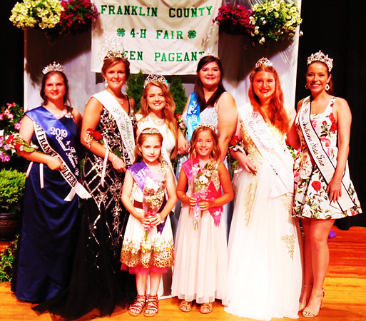 Debbie Blank | The Herald-Tribune<br /> 2019 Queen Kristen Kolb (back row second from left) is flanked by (from left) second runner-up Karen Kahles, 2018 Queen Ingrid Miller, first runner-up India Burris, Miss Congeniality Alexa Brehm, Miss Indiana State Fair 2019 Halle Shoults; (front row) Miss Personality Alice Bulmer and 2019 Princess Marley Boone.