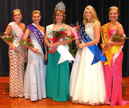 Diane Raver | The Herald-Tribune<br /> FRANKLIN COUNTY ROYALTY includes Miss Congeniality Elizabeth Bachus (from left), second runner-up Kyrstyn Eilerman, Queen Emma Stern, first runner-up Megan Hensley and third runner-up Kayla Watterson.