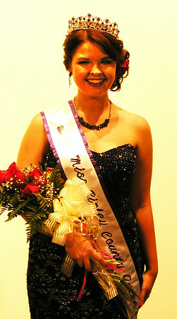 "Debbie Blank | The Herald-Tribune<br /> When Ashley Moore heard her name called to become Miss Ripley County 2014 at the Damm Theater, Osgood, July 13 before 300 attendees, she was ""so excited ... I just couldn't stop smiling."""