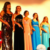 Debbie Blank | The Herald-Tribune<br /> Called to the stage for a last round of applause in their gowns were (from left) Carly Buchanan, Versailles; Savannah Kern, Milan; Emily Cumberworth and Kendra Franklin, Holton; and Kiesten Abel, Osgood.