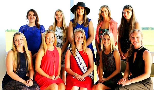 Submitted photo<br /> Miss Ripley County 2015 Savannah Kern (seated with crown) is flanked by 2016 queen hopefuls (front row from left) Bridget Swinney, Andrea Grossman, Carah Beck and Cheyenne Kern; (back row) Kendra Franklin, Jessica Raver, Sarah Pitts, Hanna Speer and Rebecca Eckstein.
