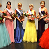 Debbie Blank | The Herald-Tribune<br /> Queen Carah Beck, Dillsboro (wearing crown), greets her court: (from left) Bridget Swinney, Kendra Franklin and Hanna Speer, Holton; Sarah Pitts, Milan; and Andrea Grossman, Versailles.