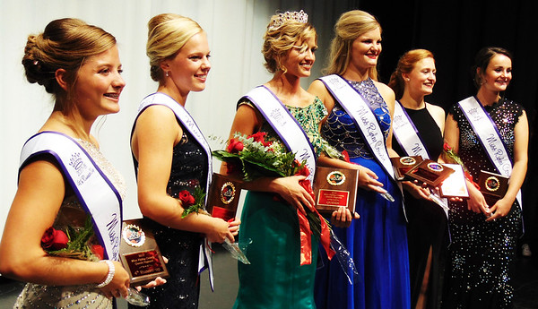 Debbie Blank | The Herald-Tribune <br /> Queen Hanna Speer (center), Holton, is flanked by her court (from left): fourth runner-up Whitney Winters, Osgood; second runner-up Alyssa Brinkman, Milan; first runner-up Kendall Viel, Sunman; third runner-up Annalynne Doll, Oldenburg; and Miss Congeniality Sierra Kern, Milan.