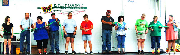 Debbie Blank | The Herald-Tribune<br /> Almost all of the Ripley County 4-H Corp. members were onstage to open the week July 23. The fair continues through July 29 at Ripley County Fairgrounds Park, Osgood.