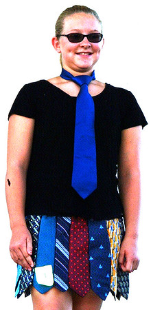Debbie Blank | The Herald-Tribune<br /> Milan Elementary School sixth-grader Chloe Hunter was in the fashion revue, entering a wearable art project that was judged Reserve Grand Champion. The Pierceville Haypals member made a necktie skirt using two ties from her great-grandfather.