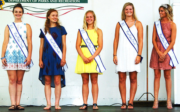 Debbie Blank | The Herald-Tribune<br /> Ripley County 4-H Fair Queen Pageant winners were introduced during the opening ceremony: (from right) Queen Hanna Speer, first runner-up Kendall Viel, second runner-up Alyssa Brinkman, third runner-up Annalynne Doll and Miss Congeniality Sierra Kern.