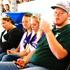 Debbie Blank | The Herald-Tribune<br /> 4-H Queen Shelby Hiltenbeitel (from left), pageant third runner-up Victoria Gobel, Ripley County Queen Alyssa Brinkman and 4-H King Levi Stenger watch the 2018 Ripley County 4-H Beef Show.