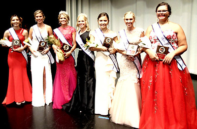 Diane Raver | The Herald-Tribune Celebrating along with 2019 Queen Heidi Speer and 2018 Queen Alyssa Brinkman (third and fourth from left, respectively) were the court, which consisted of fourth runner-up Anna Liming, third runner-up Shalee Harrington, second runner-up Malia Scheele, first runner-up Abbey Knowlton and Miss Congeniality Lacy Engelking.