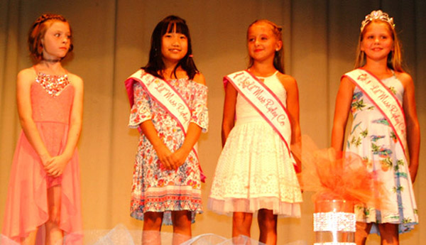 Diane Raver | The Herald-Tribune<br /> Little Miss Ripley County 2018 winners took the stage at the 2019 pageant. They included (from right) Princess Addysin Hughes, first runner-up Tinley Jo Enneking, third runner-up Sophie Riehle and second runner-up Payten Sarringhaus.