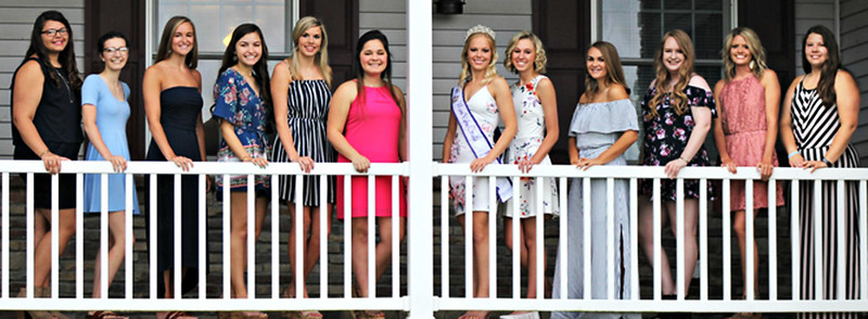 Submitted photo 2018 Miss Ripley County Alyssa Brinkman (center wearing crown) welcomes 2019 contestants (from left) Lacy Engelking, Anna Liming, Caitlyn Broering, Malia Scheele, Shalee Harrington, Bailey Hon, Abbey Knowlton, Olivia Davis, Tora Coleman, Heidi Speer and Baylee Dwenger. Cierra Copeland is not pictured.