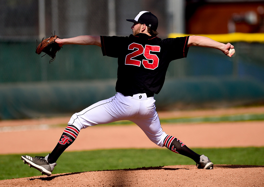 . BOULDER, CO - APRIL 25:Fairview High School\'s Graham Gilchrist (No. 25) throws in the game against Boulder High School at Scott Carpenter Park in Boulder on April 25, 2019. (Photo by Matthew Jonas/Staff Photographer)