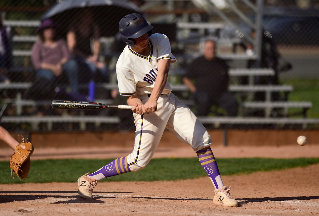 . BOULDER, CO - APRIL 25:Boulder High School\'s Nathan Bach gets a base hit single in the game against Fairview High School at Scott Carpenter Park in Boulder on April 25, 2019. (Photo by Matthew Jonas/Staff Photographer)