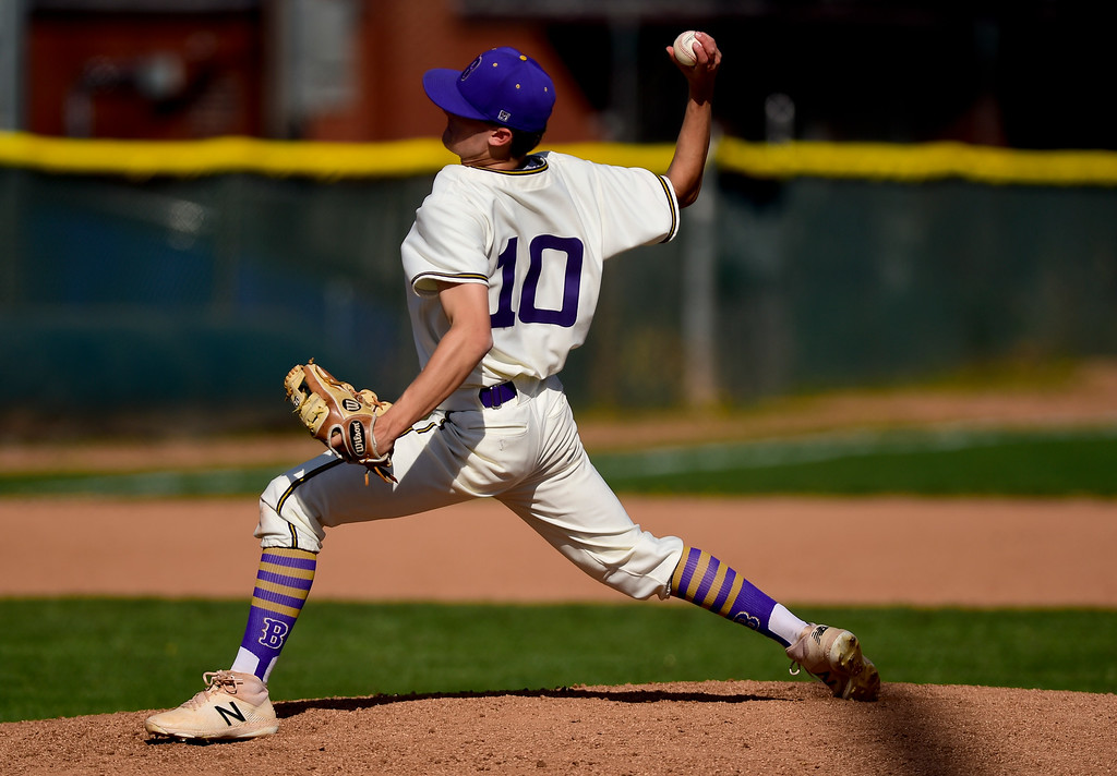 . BOULDER, CO - APRIL 25:Boulder High School\'s Vincent Sauza throws against Fairview High School at Scott Carpenter Park in Boulder on April 25, 2019. (Photo by Matthew Jonas/Staff Photographer)