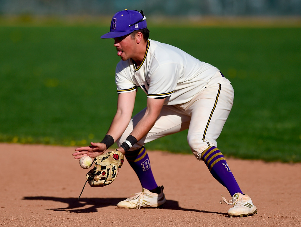 . BOULDER, CO - APRIL 25:Boulder High School\'s Jackson Wyatt (No. 1) snags a ground ball in the game against Fairview High School at Scott Carpenter Park in Boulder on April 25, 2019. (Photo by Matthew Jonas/Staff Photographer)