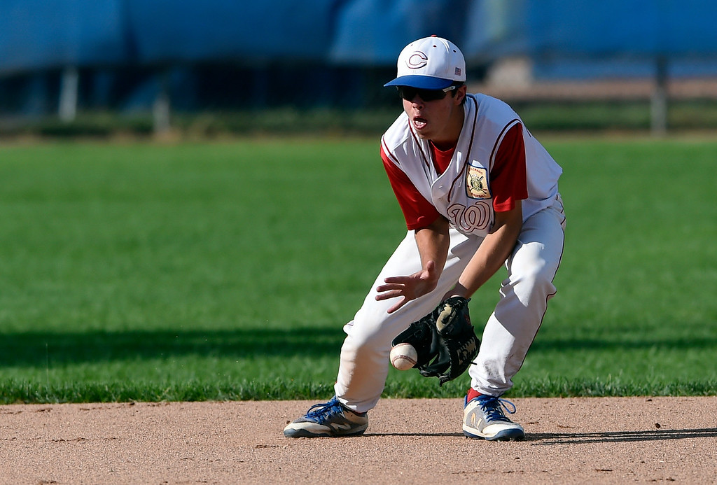. Centaurus short-stop Nate Bernstein makes a stop for an out at first base during a game against Fairview on Thursday at Centaurus High School in Lafayette. More photos: BoCoPreps.com Jeremy Papasso/ Staff Photographer 07/26/2018