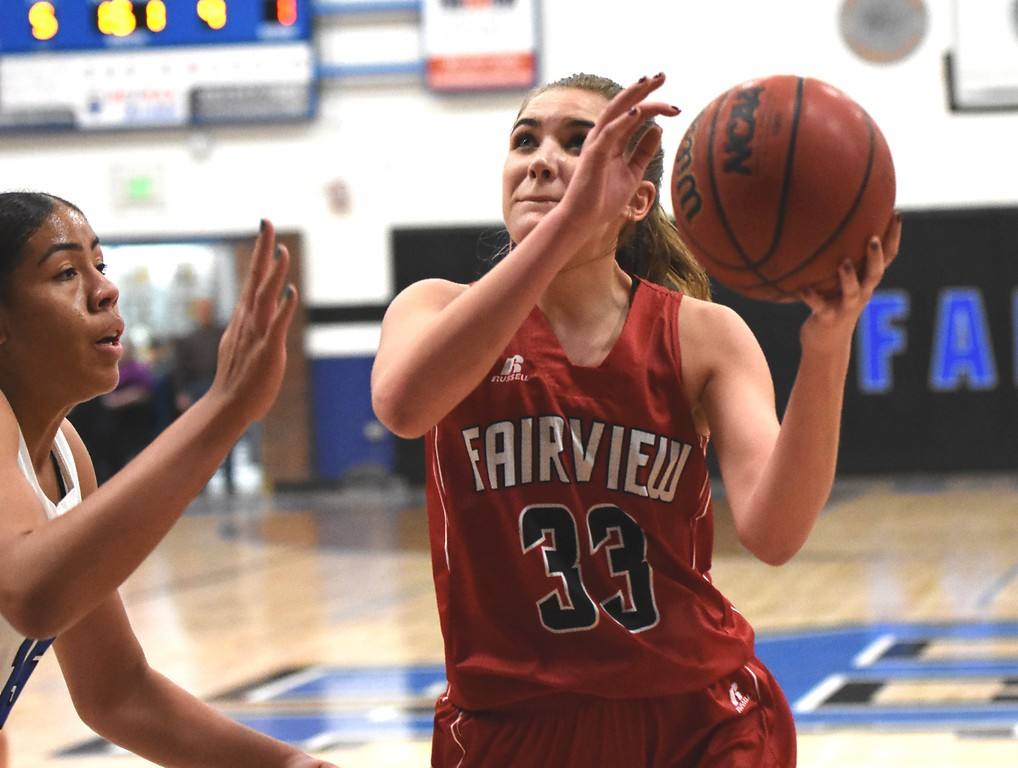 . Katie Lampert of Fairview High School in action against Highlands Ranch on Tuesday. Brad Cochi Photos
