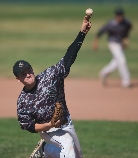 "Silver Creek's Sam Elting #11 pitches to Fairview during the game at Fairview High School on Thursday. <br /> More photos:  <a href=""http://www.BoCoPreps.com"">http://www.BoCoPreps.com</a><br /> (Autumn Parry/Staff Photographer)<br /> July 14, 2016"