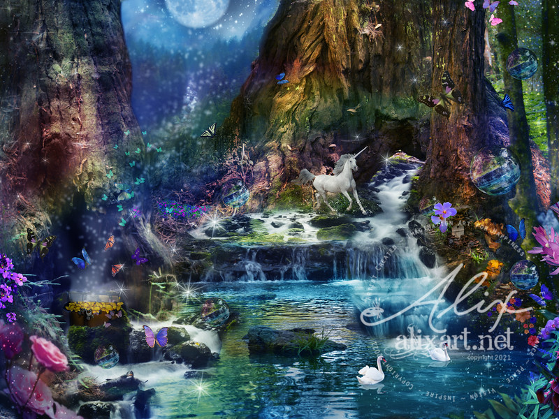 Redwood Waterfall_unicorn_moon_variation_8