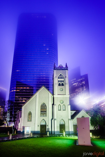 Downtown foggy houston