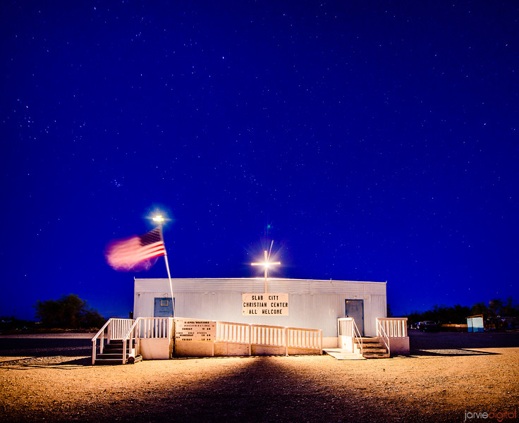 Slab City Community Church at Night