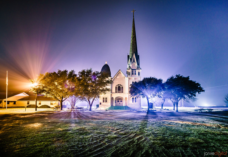 New Sweden Lutheran Church (Manor, TX) - Night Horizontal