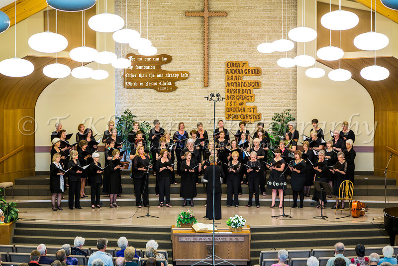 The Faith and Life Women's Chorus at their spring concert at the Winkler Bergthaler Mennonite Church, Winkler, Manitoba, Canada.