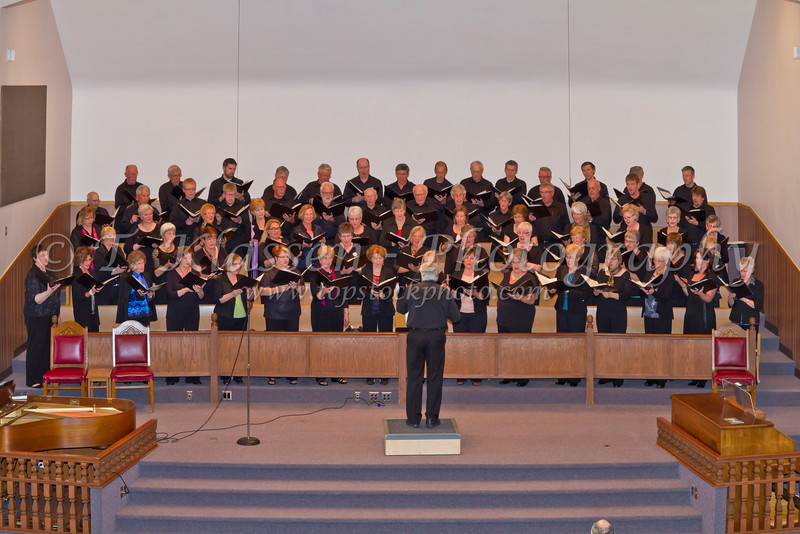 The Faith and Life Ladies Chorus and Male Choir at their 2012 spring concert at the Sargent Ave. Mennonite Church in Winnipeg, Manitoba, Canada.