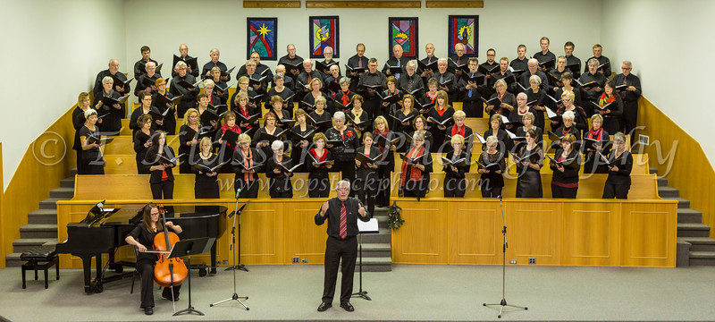 The combined Faith and Life Choirs of the Women's Chorus and the Male Choir at their concert in Altona, Manitoba, Canada.