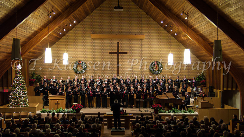 The combined choirs of the Faith and Life Womens Chorus and the Mens Choir at their 2008 Christmas Concert at the Springfield Heights Mennonite Church in Winnipeg, Manitoba, Canada.