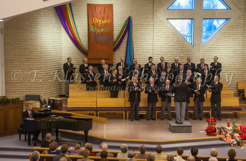 The Faith and Life Male Choir at the Bethel Mennonite Church in December 2003, Winnipeg, Manitoba, Canada.