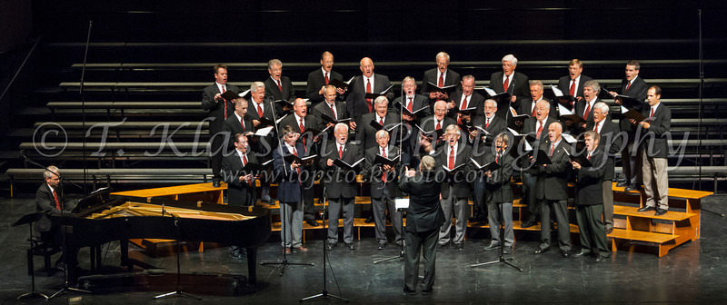 The Faith and Life male choir at the Saengerfest sponsored by Golden West Radio at the Winnipeg Centennial Concert Hall.
