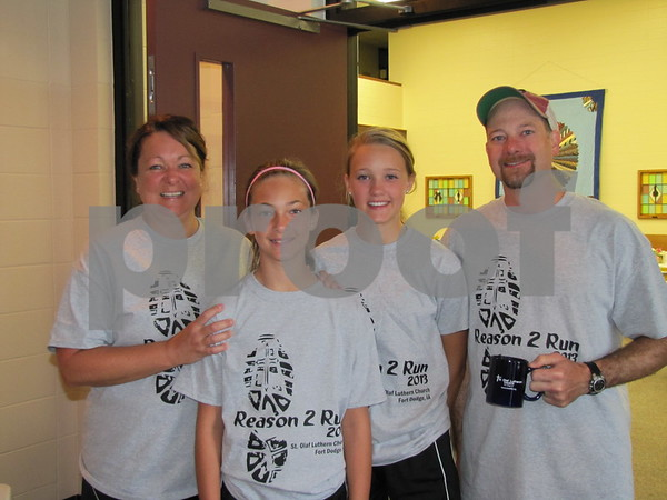 Kim, Madigan, Iris, and Aaron Pieman participated in St. Olaf Lutheran Church's 5K run/walk at the Sunday School Rally.