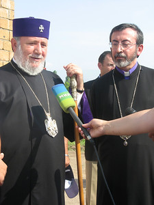 "09 02-23 His Holiness Karekin II launch of Building on Faith project. His Holiness Karekin II, on the left, with His Eminence Archbishop Khajag Barsamian, Primate of the Diocese of the Armenian Church of America (Eastern), during the opening ceremony for the ""Building on Faith"" project. leo"