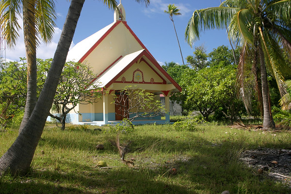 An old, unused, but incredibly beautiful Catholic church in Tetamanu Village. The church is open and can be visited by anyone who can find their way to the South Pass.