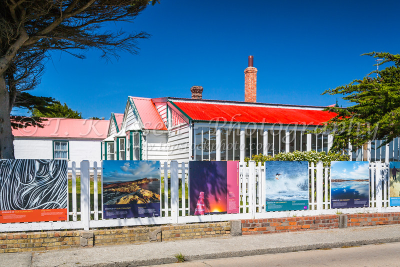 Artwork displayed on the street in Stanley the Capital of the Falkland Islands on East Falkland, British Overseas Territory.