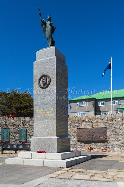 The Liberation Monument in Stanley the Capital of the Falkland Islands on East Falkland, British Overseas Territory.