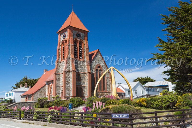 Christ Church Cathedral exterior in Stanley the Capital of the Falkland Islands on East Falkland, British Overseas Territory.