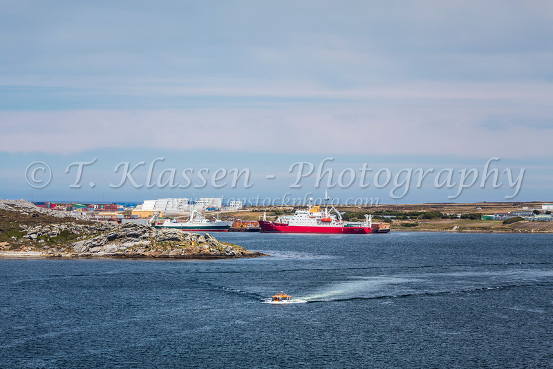 Cruise ship tender boats in the harbor of Port Stanley the Capital of the Falkland Islands on East Falkland, British Overseas Territory.