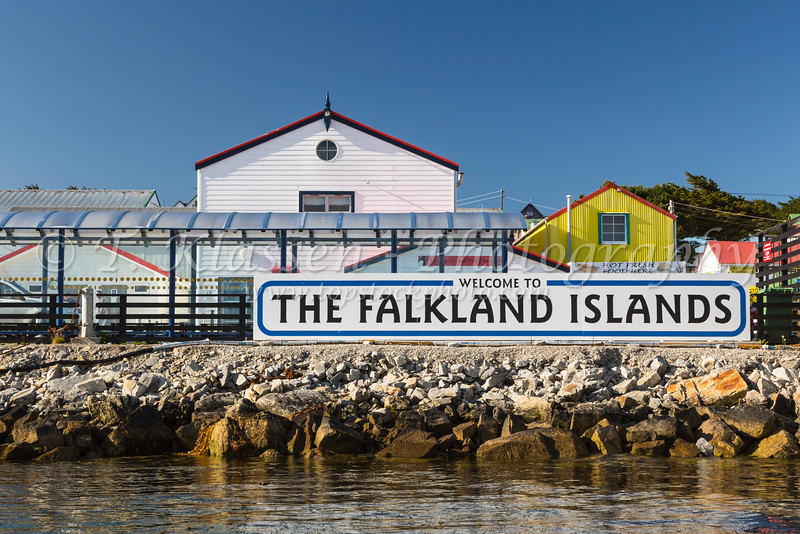 Welcome to the Falkland Islands sign at Port Stanley the Capital of the Falkland Islands on East Falkland, British Overseas Territory.
