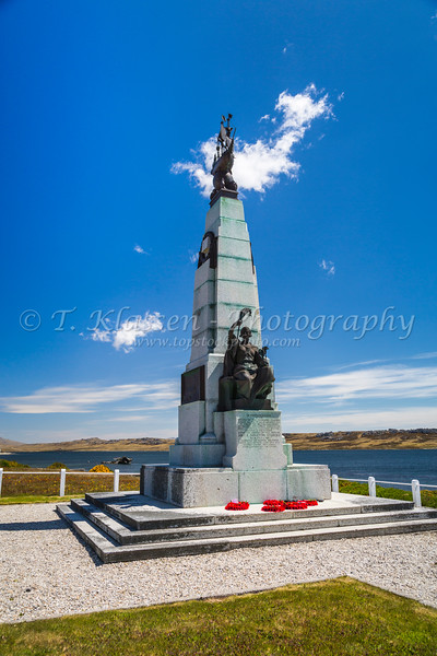 A War Memorial in Stanley the Capital of the Falkland Islands on East Falkland, British Overseas Territory.