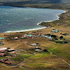 Falkland Islands Pebble Island settlement from the air