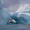 Zodiac cruising around huge icebergs near Turret Point on King George Island